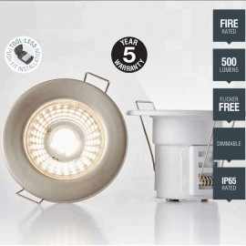 Satin Nickel IP65 Fixed Downlight Cool White LED Integrated Compact 8.6cm