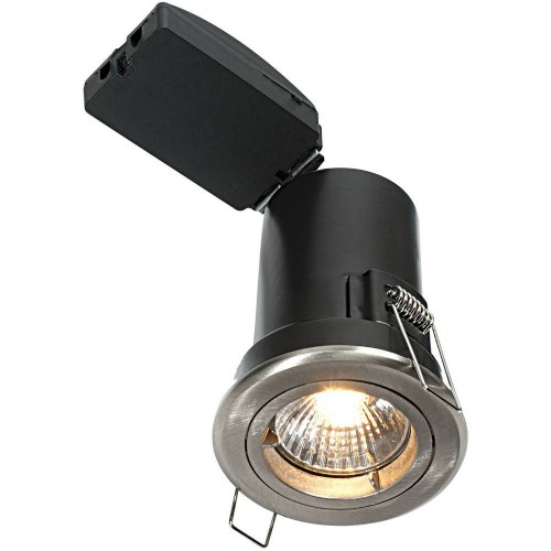 Satin Nickel Fixed Downlight LED Compatible 8.5cm