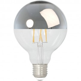 Calex LED Full Glass Filament Top-mirror Globe Lamp 240V 4W 280lm E27 GLB95, Clear 2300K Dimmable