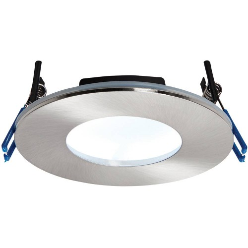 Satin Nickel Low Profile IP65 Downlight Cool White LED Integrated 11cm