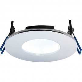Chrome Low Profile IP65 Downlight Cool White LED Integrated 11cm