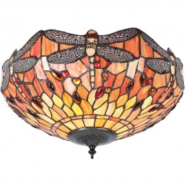 Tiffany Flame Flush Ceiling Light 40cm