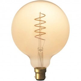 Calex LED Full Glass Flex Filament Globe Lamp 240V 4W 200lm B22 G125, Gold 2100K Dimmable