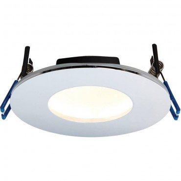 Chrome Low Profile IP65 Downlight Warm White LED Integrated 11cm