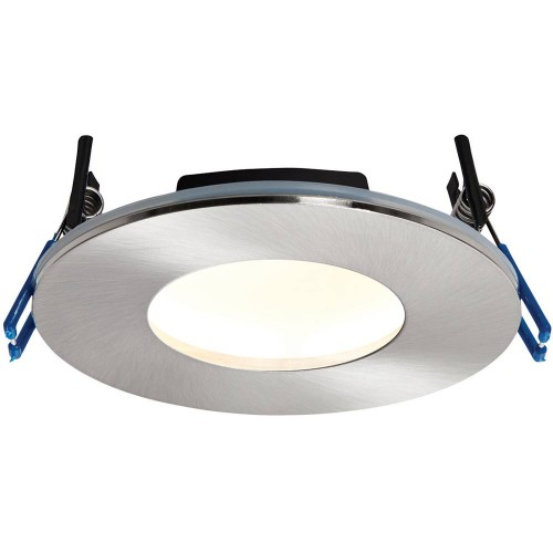 Satin Nickel Low Profile IP65 Downlight Warm White LED Integrated 11cm
