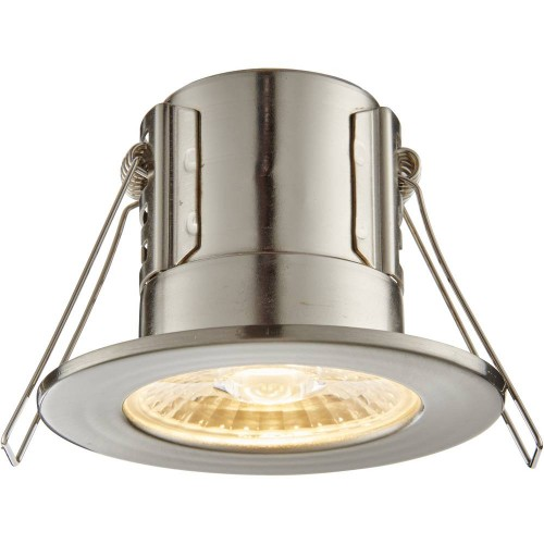 Satin Nickel IP65 Fixed Downlight Warm White LED Integrated Compact 8.6cm