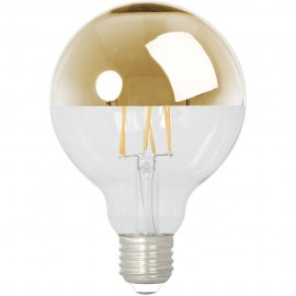 Calex LED Full Glass Filament Top-mirror Globe Lamp 240V 4W 280lm E27 GLB95, Gold 2300K Dimmable