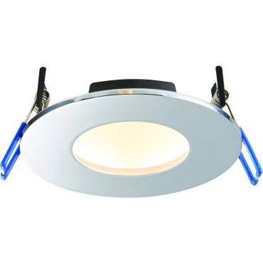 Chrome Low Profile IP65 Downlight Colour Changing LED Integrated 11cm