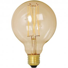 Calex LED Full Glass LongFilament Globe Lamp 240V 4W 320lm E27 GLB95, Gold 2100K Dimmable